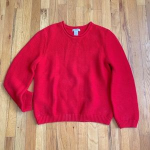 Heavy Knit Chile Red Textured Pullover Sweater